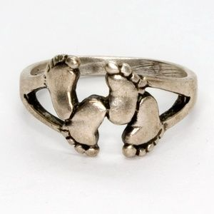 Jewelry - Sterling Silver Footprints Ring 925 Baby Feet